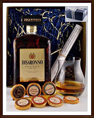 Geschenk Amaretto Disaronno Originale Mandellikör + 9 DreiMeister Edel Schokoladen + 1 Original Glencairn Glas kostenloser Versand
