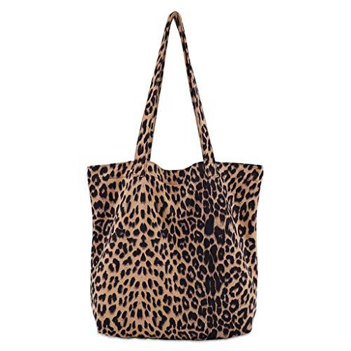 Leopard Print Canvas Handtasche (JAGENIE Damen Leopard Print Handtasche Schulter Damen Geldbörse Messenger Satchel Einkaufstasche Tasche)