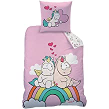 Unicornio NICI Juego de ropa de cama para niña & adolescente en color rosa, rosa · Rainbow Love Unicorn Theodor & Friends · Reversible Diseño · 2piezas · almohada 80x 80+ Funda Nórdica 135x 200cm; 100% algodón