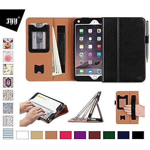 funda iPad mini 4, FYY [Series Super Funcional ] Fundas cubierta de cuero PU superior con ranuras para tarjetas, correas elastica de mano y estilo de soporte para IPad mini 4 color negro (Con auto