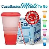 Tazza Termica per Alimenti/Cereali da Viaggio con Scomparto Refrigerante per Yogurt/Latte e Cucchiaio Pieghevole Incluso | Muesli to Go | Colore: Rosso|