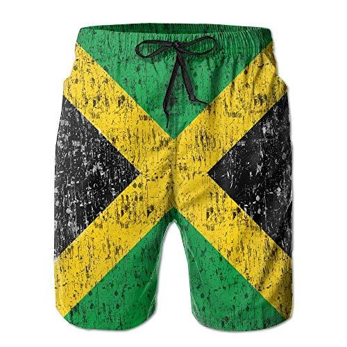 ncnhdnh Man Jamaica Flag Proud Jamaicans Tropical Quick Dry Board Shorts Swimming Volley Beach Trunks XL -