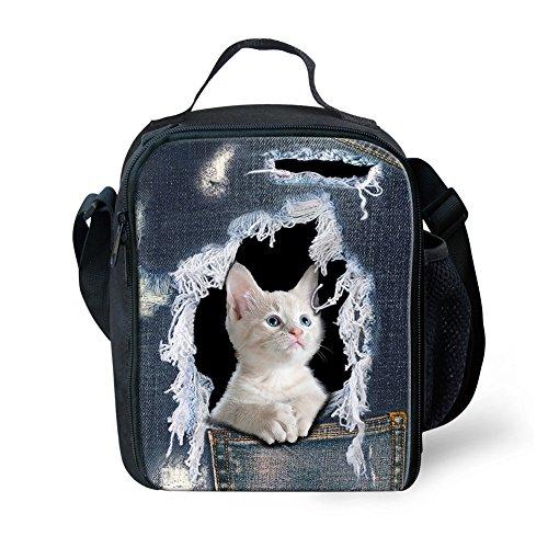 Nopersonality Kleine Lunchtasche für Kindergarten, isoliert, mit Flaschenfach Tote Größe S Cat Pattern-3