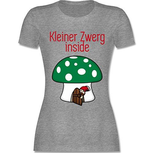 Schwangerschaft - Kleiner Zwerg inside Pilz Häuschen - tailliertes Premium T-Shirt mit Rundhalsausschnitt für Damen Grau Meliert
