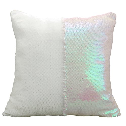 Luxbon Doppel Farbe Glitter Meerjungfrau Pailletten Funkeln Kissenbezug Kissen Fall Hause Sofa Deko 40 x 40cm Pink und Weiß