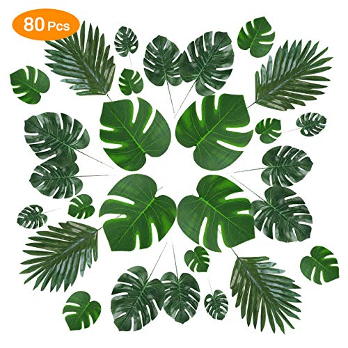 CestMall Künstliche Palmblätter, 80 Stück Faux Stängel Tropische Pflanzenblätter, Monstera Blätter Palmblätter für Hawaiian Safari Jungle Moana Thema Grün Luau Party Home Dekorationen Supplies (Home Party Supplies)