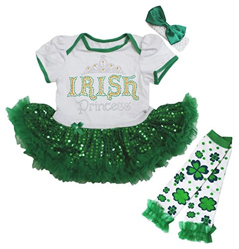 Giorno di San Patrizio, irlandese bianco Body Verde paillettes Tutu Leg Warmer nb-18m Green 12-18 Mesi