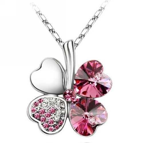 Merdia–Necklace with Four-Leaf Clover in Heart Shape with Swarovski Crystals, Chain of 40.64cm with 12.7cm Extender