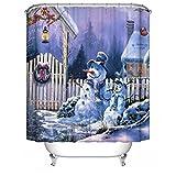 Frohe Weihnachten Stoff Wasserdichte Badezimmer Duschvorhang Shower Curtain+ Haken 180x180cm(72x72 inch), #17