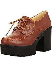 VogueZone009 Femme à Talon Haut PU Cuir Couleur Unie Lacet Chaussures  Légeres 877515d7fa1