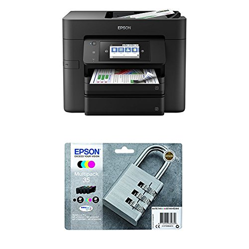 Epson WorkForce Pro WF-4740DTWF 4-in-1 Tintenstrahl-Multifunktionsgerät schwarz + Epson Original Tintenpatrone T35 Schloss Multipack