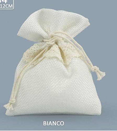Set 30 pezzi, bomboniera sacchetto stoffa iuta con tirante( dimensione cm 10x12), portaconfetti, segnaposto, confettata (ck6284) (bianco)