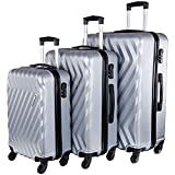 Nasher Miles Lombard Hard-Side Luggage Set of 3 Silver Trolley|Travel|Tourist Bags