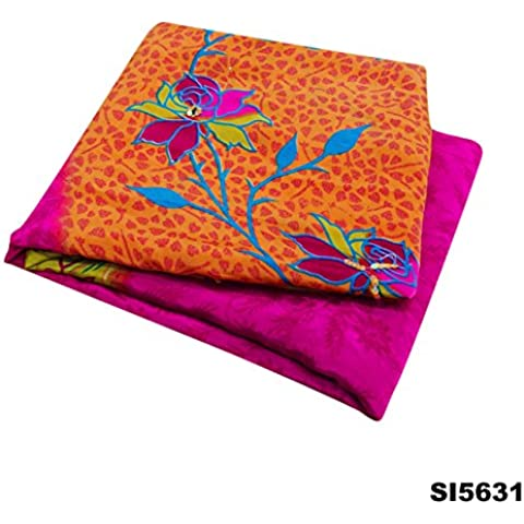 Bollywood Indio De Tela Sari De La Vendimia Crepe De Seda Textil Mujeres Partido Étnico Desgaste Sari 5 Silla