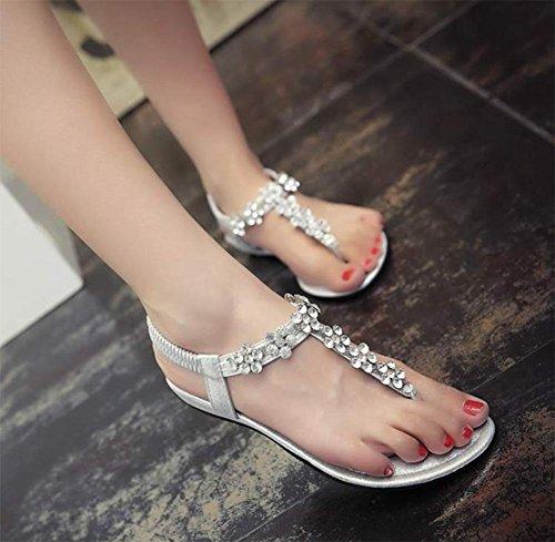 Sommer Sandalen flache Sandalen flache Sandalen mit Strass weiblichen weiblichen Pantoffeln Silver