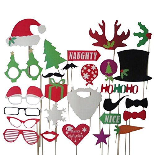 27pcs Christmas Santa Hat Party Masks Photo Booth Props Mustache On A Stick by hjuns