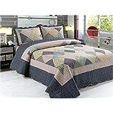 A-Express Patchwork Motif matelassé Couvre-lit 3pcs Comforter Bed Set Double King Taille 250cm x 230cm