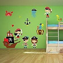 Pirata de la historieta vinilos decorativos set Barco pirata adhesivos pegatina pared Niños Dormitorio Decoración Disponible en 8 Tamaños XX-Grande Digital