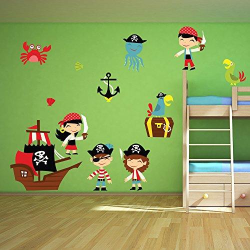 Karikatur-Pirat Wandaufkleber Set Piratenschiff Wandtattoo Kinder Schlafzimmer Haus Dekor Erhältlich in 8 Größen XX-Groß (Dekor Piraten)