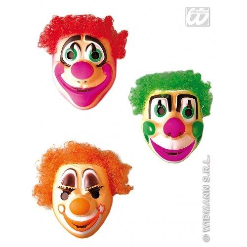 WIDMANN Clown-Maske mit Haaren für Kinder, Kunststoff, Halloween-Party, Masken, Augenmasken und Verkleidungen für Maskenade, Kostüm-Zubehör