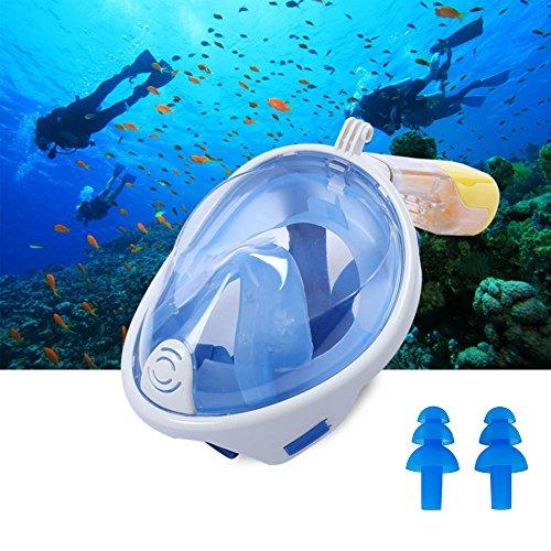 MeetUs Schnorchel Maske Full Face, Seaview 180 ° Schnorchel Maske Set für Erwachsene, Jugendliche und Kinder, Anti-Fog, Anti-Leck-Schwimmen & Unterwasser Maske Set mit wasserdichten Ohrstöpseln (S-M) (Tauchausrüstung Maske, Schnorchel)
