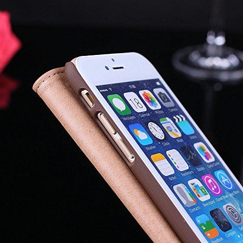 """iPhone 6 Plus / 6s Plus 5.5"""" vue Housse,EVERGREENBUYING - Coque avec fenêtre et fonction de support Apple 6+/6s+ Premium Etui de Protection Case Cover pour Apple iPhone 6 Plus / 6S Plus Noir Marron"""