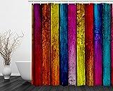 Moderna cortina de ducha Cortina para el baño 100% impermeable, Madera Vieja, 180*180cm