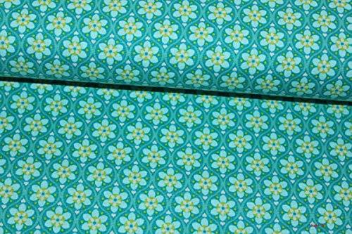 Baumwollstoff Julia Ornament petrol/grün (10 cm)
