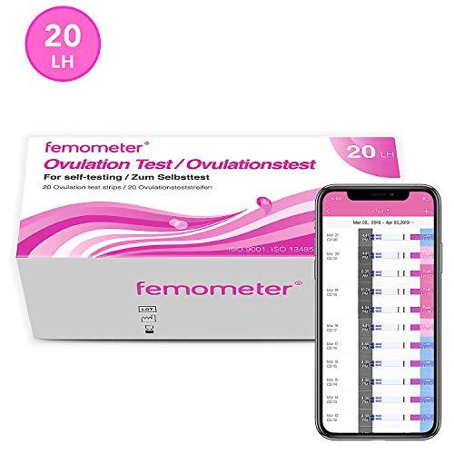 Femometer 20 ovulationstest 20 miu/ml optimaler Sensitivität, Genaue Ergebnisse mit smarter App (iOS & Android), Automatische Erkennung der Testergebnisse