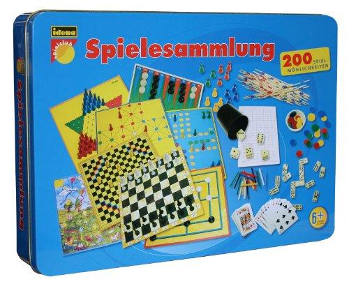 Idena 6102590 - Set di 200 diversi giochi da tavola, in confezione metallica