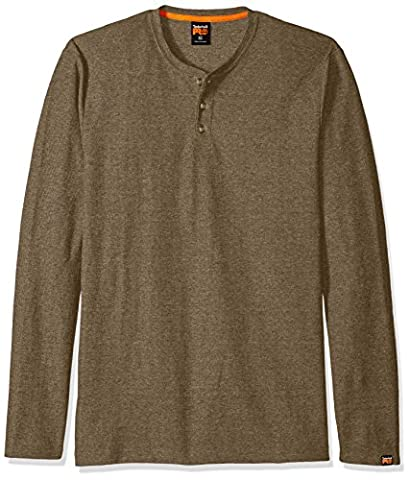 Timberland PRO Men's Mad As Henley Long Sleeve Shirt, Dark Brown Heather, Small