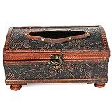 KING DO WAY Tissuebox Kosmetiktuecherbox Holz Taschentuchspender Kosmetiktuch Taschentuch box Spender Retro 20.7x11.8x11cm