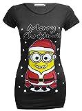 Frauen Weihnachts Druck strecke T-Shirts Tops 36-48 (44-46, Minion Black)