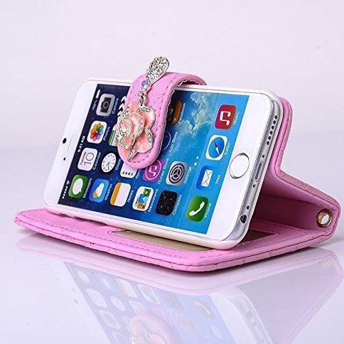 """inShang iPhone 6 Plus iPhone 6S Plus Coque 5.5"""" Housse de Protection Etui pour Apple iPhone 6+ iPhone 6S+ 5.5 Inch, Coque Avec Elégant Boucle + Pochette + GRID PATTERN + HAND STRAP, Cuir PU de premier pearl handbag pink"""