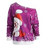 SEWORLD Frohe Weihnachten Weihnachtsmann Kapuzenpulli Damen Langarm Warmer Sport Lose Drucken Skew Kragen Pullover Tops Bluse(X2-hot pink,EU-32/CN-S)
