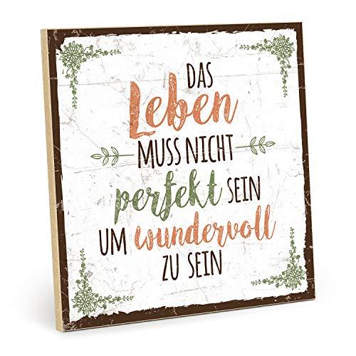 TypeStoff Holzschild mit Spruch – Nicht PERFEKT – im Vintage-Look mit Zitat als Geschenk und Dekoration zum Thema das Leben ist schön