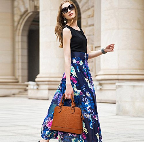 X&L Krokodil-Muster Mode Frauen Diagonale Schulter Leder Handtasche Brown