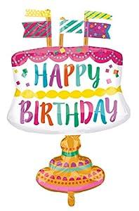 Amscan-336080124x 24pulgadas Fancy Cake y banderas feliz cumpleaños globo aluminio Super forma