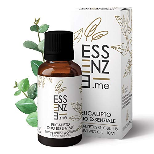 ESSENZE OLIO ESSENZIALE DI EUCALIPTO Puro al 100{4168d15bdb0ba646b05facf026f7ad63a05c6e6f672d1e4eccbf53112942de0a} Naturale, Profumo Ambiente Aromaterapia Per Diffusori, INCI Eucalyptus Globulus Leaf Twig Oil. Controllato e Confezionato in ITALIA.