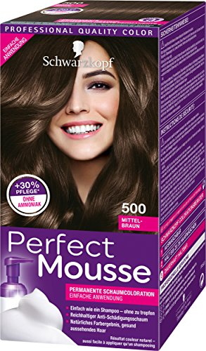 Schwarzkopf Perfect Mousse Permanente Schaumcoloration 500 Mittelbraun Stufe 3, 3er Pack (3 x 93 ml)