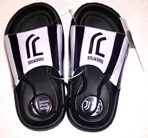 Juventus f.c. ciabatte a fascia mare piscina juventus fc prodotto ufficiale juve bimbo bambino (nero, 24-15,5 cm)