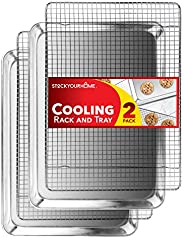 Stock Your Home Aluminum Sheet Pan and Cooling Rack Baking Set with 2 Sheet Pans and 2 Stainless Steel Cooling