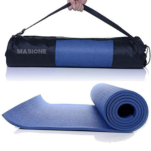 MASIONE® Yogamatte, Gymnastikmatte Fitnessmatte Turnmatte Bodenmatte für Yoga Pilates Sport Fitness Turnen Workout Gymnastik Stretching mit Tragetasche 173×61×0.6cm in blau