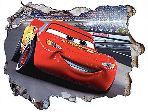 Chicbanners Cars Lightning McQueen 3D Wall Crack Wall Smash V001 Wandaufkleber, selbstklebend, Größe 1000 mm breit x 600 mm tief (groß) (3d Lightning Mcqueen)