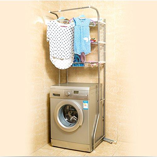Justierbares Badezimmer-Toiletten-Gestell-Regal über Waschmaschinen-Balkon-Multifunktionsraum-Retter, Edelstahl