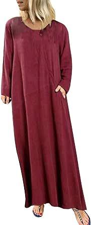 TIFIY Donna Vestiti Vintage o-Collo a Manica Lunga Abito da Donna in Cotone e Lino Tinta Unita Vestito Casual Tasche DOT Stampato Abito Lungo Vestito Lungo Taglia Grossa Plus Size Dress