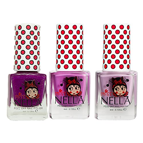Miss Nella Bubble Gum, Little Poppet, Jazzberry Jam Special Glitter Kids Nail Polish with Peel-off Water Based Formula by MissNella (Nail Polish Peel-off-remover)