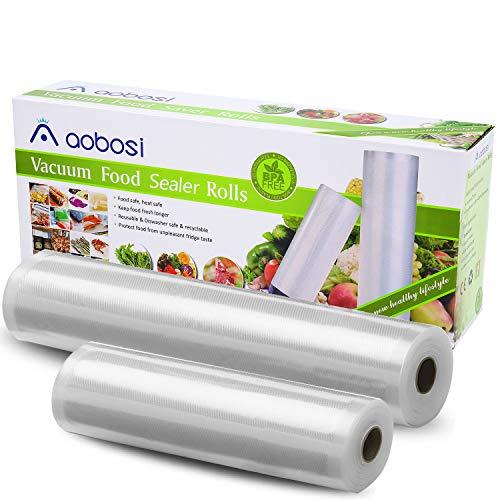 Aobosi Vakuumrollen Vakuumierfolie Rolle für alle Folienschweißgeräte,2 Rollen 28x600cm&20x600cm-Premium Qualität Folienbeutel Folienrollen Für Sous Vide BPA Frei und LFGB Zugelassen