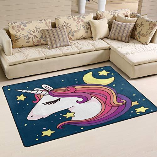 Use7 Alfombra Unicornio Forma Estrella Luna, Antideslizante