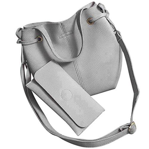 Fuibo Mode Frauen Leder Litchi Stria Handtasche Crossbody Schultertasche + Clutch Wallet (Grau) (Perlen Tasche Zubehör Abend Handtasche)